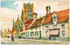 Oude postkaart, afdruk van aquarel Veurne, Furnes