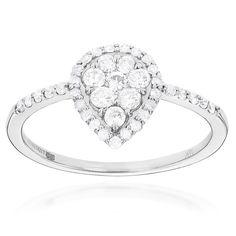 Luxurman 14k Gold 5/8ct TDW Diamond Cluster Ring (G-H, SI1-SI2) (14k Gold Size ), Women's