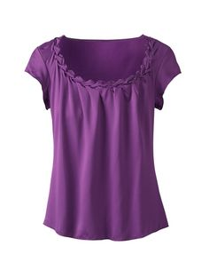 Purple! Is the neckline too wide on this? Like the flowing draping in the front. Sleeves probably too short.