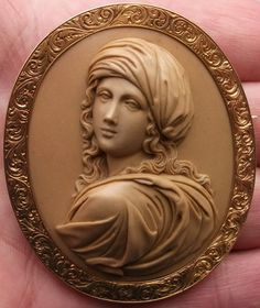 Beatrice Cenci (1577-1599) the symbol of the oppressed innocence, cameo carved in lava, ca 1860, Italy
