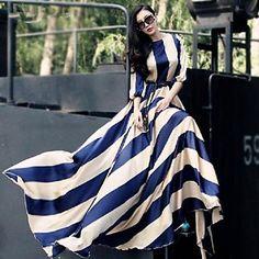 Verragee Women's Fashion Elegant Stripes Long Swing Maxi Dress - USD $ 66.90