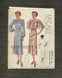 Vintage 1937 Flutter Sleeve and Collar Slightly Flared Dress McCall 9091