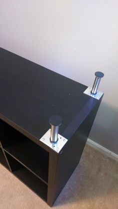 Ikea Kallax with legs - Pretty Pegs are better Ikea Furniture, Furniture Makeover, Home Recording Studio Setup, Ikea Cubes, Ikea Bed Hack, Pretty Pegs, Basement Guest Rooms, Kids Play Spaces, Living Dining Combo