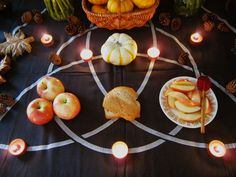 Pagan Altar, my guess is for Fall Equinox, or possibly Samhain. Beautifully laid out to maximize the design motif on the altar cloth. Need to make this altar for harvest Josephine Wall, Mabon, Yule, Magick, Witchcraft, Samhain Halloween, Pagan Altar, Autumnal Equinox, Altar Cloth
