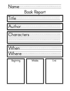 book report for first grade 1 st and 2 nd grade summer reading book report form title of book:_____ author:_____.