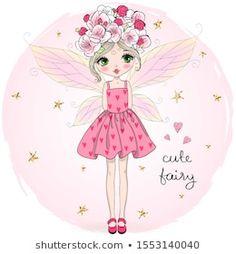 Hand Drawn Beautiful Cute Little Fairy Stok Vektör (Telifsiz) 1553140040 Fairy Drawings, Cartoon Drawings, Cute Drawings, Cute Love Cartoons, Cute Cartoon, Pictures To Draw, Cute Pictures, Cute Vector, Girl Drawing Easy