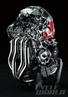 Kawasaki Ninja H2R engine block cutaway