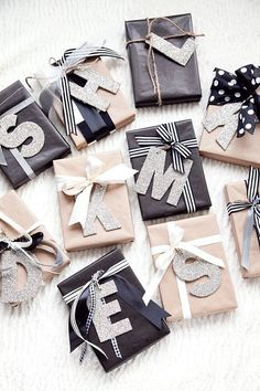 12 BEST Christmas Wrapping Ideas! Make your presents that little bit more personal with letter tags. (Now there will definitely be no confusion with whose is whose!)