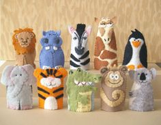 Make your own zoo! Put together a Madagascar type adventure. Relive a trip to the zoo. Collect your favorite animals. Puppets are always great to encourage creativity, develop imagination, and provide hours of inventive fun. These are great even for tiny kids to help identify animals, or wear while youre doing story time together.  These finger puppets are made with a wool blend felt. Everything is hand stitched. They are all about 3 tall by 1 1/2 wide. Because these are handmade, they might…