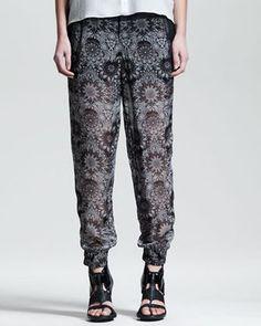 Helmut Lang Mandala Print Viscose Pants