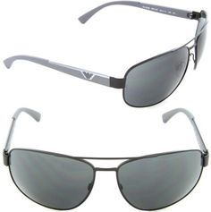 221fd223ea13 Emporio Armani EA 2036 3001 87 Rectangle Sunglasses Matte Black Grey Lens  Armani Models