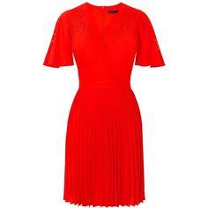 Karen Millen Colourful Lasercut Dress, Red (£199) ❤ liked on Polyvore featuring dresses, deep v-neck dress, midi dress, cutout maxi dresses, short red dress and cut out maxi dress