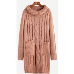 SheIn(sheinside) Pink Cable Knit Turtleneck Sweater Dress With Pocket