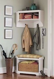 Love the corner bench! DIY Mini Mudroom : No closet in foyer? Use a corner of your front hall to carve out a mini mudroom! Corner Bench With Storage, Corner Shelf, Coat Storage Small Space, Tv Shelf, Diy Casa, Bench Plans, Home Organization, Organisation Hacks, Home Projects