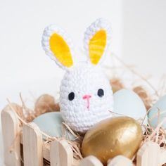 Crochet around a plastic egg to make this darling baby toy