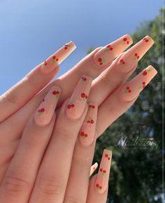 Cherry Nails Cute Acrylic Nail Designs, Simple Acrylic Nails, Best Acrylic Nails, Teen Nail Designs, Coffin Nail Designs, Painted Acrylic Nails, Acrylic Nail Designs Coffin, Coffin Nails Designs Summer, Bling Nails