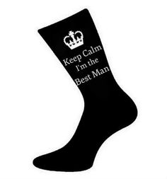 Mens Keep Calm I'm The Best Man Socks. A fun & Unique thoughtful Gift Idea for a Best Man on the Wedding Day. Wedding Favour