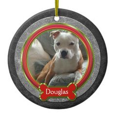 Christmas Ornament Pet Photo Leather Red Green