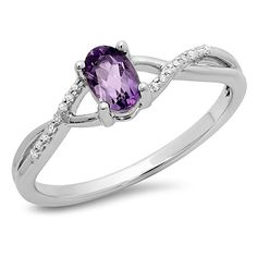 0.50 Carat (ctw) 10K Gold Purple Amethyst & White Diamond Bridal Swirl Engagement Promise Ring 1/2 CT