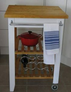 ikea butchers trolley makeover, painted furniture, Finished and dressed towel rail added Kitchen Island Cart Ikea, Ikea Island Hack, Ikea Kitchen Cabinets, Kitchen Cart, Ikea Butcher Block, Butcher Block Kitchen, Ikea Trolley, Kitchen Wall Shelves, Apartment Kitchen