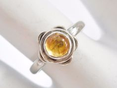 Vintage Sterling Silver Round Cabochon Citrine Flower Ring Sz 6.25 #1793
