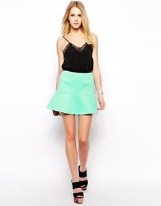 $41, Mint Skater Skirt: Fashion Union Scuba Skirt With Peplem Hem. Sold by Asos. Click for more info: https://lookastic.com/women/shop_items/104394/redirect