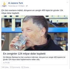 zaytunglastiramadiklarimizdan misiniz? bu haberi Bill Gates'in diskidan aritilmis su icen gorseli ile paylasan al jazeera'yi alkisliyorum.