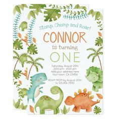 Dinosaur Birthday Invitation 1st Birthday Invitations Boy, Dinosaur Birthday Invitations, Birthday Thank You Cards, Dinosaur Birthday Party, Animal Birthday, 1st Boy Birthday, 1st Birthday Parties, Invitation Halloween, First Birthdays