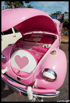 "So I have had pinterest forever and decided tonight to check out ""cars.motorcycles"" and im scrolling and scrolling and i only see pins from men until i come across this and a girl posted it.. do you think it was bc its pink?? Pink Beetle, Pink Fashion, Pretty In Pink, We Heart It, Baby Strollers, Volkswagen, Bugs, Girly Girl, Grunge"