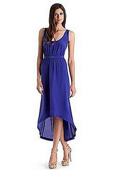 Guess by MArciano blue Sydney low high hem silk dress