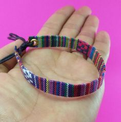 Variegated Hemp Handmade Friendship Bracelet Anklet Wristband Thai Hmong Woven Fabric Handicraft Fancy by LuxuryFay on Etsy