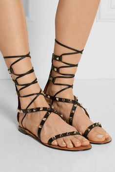Valentino | Rockstud lace-up leather sandals | NET-A-PORTER.COM