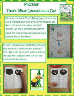 Book: That's what Leprechauns Do!  By: Eve-Bunting     Mischief - Free math activity sheet