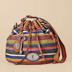 """Fossil """"Maddox Drawstring"""" bag - eye-catching with its vintage-inspired details and season perfect prints (also comes in floral print)"""