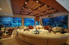 Living Rooms | Luxury Homes. I want my aquarium to have sharks and tropical fish in it!