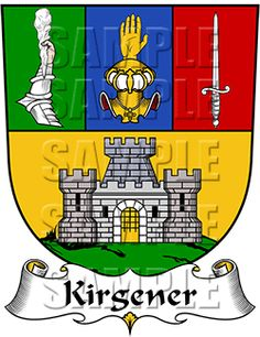 Kirgener Family Crest apparel, Kirgener Coat of Arms gifts