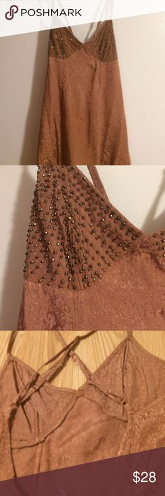 Free People intimately long cami/slip new sz XS Beaded top v front scooped lower back adjustable straps material has pretty embossed pattern  new sz XS by Free People Intimately Free People Intimates & Sleepwear Chemises & Slips