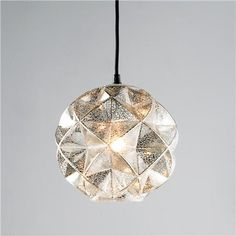 $100- Small Pendant-Mercury Glass Geodesic Dome Pendant Light. Cord is adjustable.  Note- only can be used with 40 watts- I usually like it to be rated for at least 60 watts.
