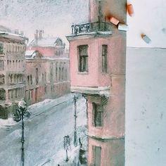 """Снежный февральский Питер. Попытка """"приручить"""" городской пейзаж  Главное открытие - для городских и архитектурных зарисовок идеально подходит сухой уголь! Взяла себе на заметку✅ Но полюбить рисовать бесчисленные окошки пока так и не получилось. Несмотря на потрясающую Питерскую архитектуру."""