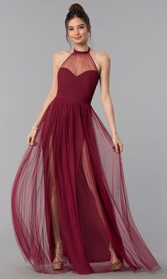 best=Illusion High Neck Halter Long Prom Dress , A long dress makes an elegant statement at any formal event whether it is prom, a formal dance, or wedding. Prom Dresses Under 200, Grad Dresses, Evening Dresses, Formal Dresses, Long Halter Dress, Tulle Prom Dress, Party Dress, Halter Dresses, High Neck Dress