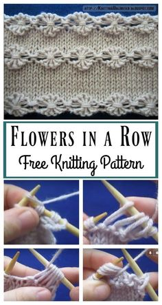 Flowers in a Row Free Knitting Pattern and Video Tutorial #Freepattern #Knitting