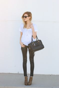 back to basics. - Love, Blair. coated black skinnies and a touch of leopard.