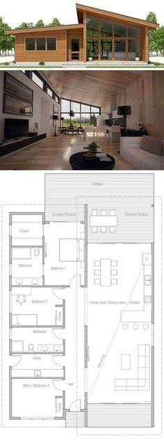 Small House Plan, Floor plan with three bedrooms, modern arc.- Small House Plan, Floor plan with three bedrooms, modern architecture - Layouts Casa, House Layouts, Small House Layout, House Layout Plans, Small Floor Plans, Small House Plans, Modern House Floor Plans, Modern Home Plans, Simple Home Plans