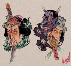 Japanese Tattoo Art, Japanese Art, Oriental, Asian Tattoos, Japan Tattoo, Japanese Illustration, Samurai Art, Lowbrow Art, Irezumi