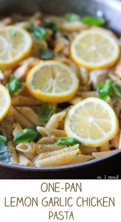 One-Pan Lemon Garlic Chicken Pasta Great flavors and a super easy one pot meal! Boys devoured this so we were without leftovers to enjoy for lunch. Yummy Recipes, Pasta Recipes, Chicken Recipes, Dinner Recipes, Cooking Recipes, Healthy Recipes, Pan Cooking, Meal Recipes, I Love Food