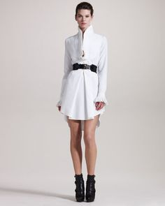 Knife-Pleated Tunic & Roller Belt by Alexander McQueen at Neiman Marcus. Frill Dress, High Collar, Dress Codes, White Women, Casual Outfits, Casual Clothes, Spring Fashion, Alexander Mcqueen, Ready To Wear