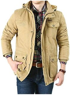 XiaoTianXinMen XTX Mens Thicken Warm Winter Quilted Hoodie Mid Length Down Parka Coat