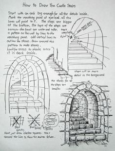 How to Draw Worksheets for The Young Artist: How To Draw Stone Stairs, Lesson and Worksheet. This is so wonderfully understandable for the young artist. Basic Drawing, Drawing Tips, Drawing Reference, Drawing Sketches, Painting & Drawing, Sketching, 3d Drawings, Design Reference, Drawing Ideas