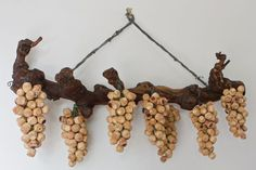 Hanging Cork grape clusters made from wine corks