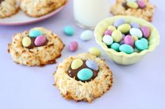 Coconut Macaroon Nutella Nest Cookies on www.twopeasandtheirpod.com Perfect for Easter!